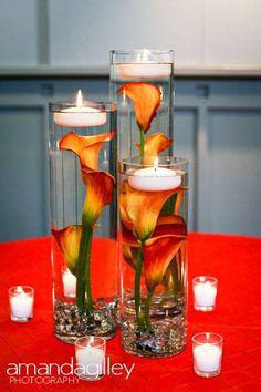 Submerged mango callas with floating candle--so elegant!