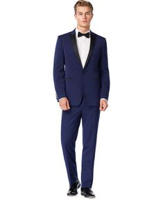 Calvin Klein Blue with Black Peak Lapel Extra Slim-Fit Tuxedo #fatherofthebrideoutfit #father #of #the #bride #outfit #father #of #the #bride #outfit #navy