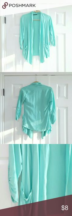 Seafoam Green Cardigan *Light weight *3/4 length sleeves *2 front pockets *No rips or stains Sweaters Cardigans