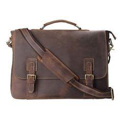 Kattee Mens Briefcase, Full Grain Leather Messenger Shoulder Bag