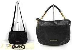 Michael by Michael Kors Black Leather & Gold Stanthorphe Convertible Bag $398 #MichaelMichaelKors #ShoulderBag