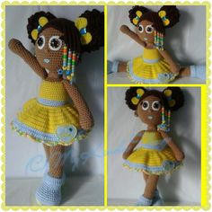 Crochet Doll; African American girl with curly afro puffs, beaded braids, removable skirt and hair accessories!