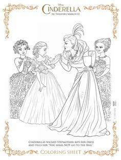 Cinderella movie coloring sheets, several styles, print them out and let your child color them!