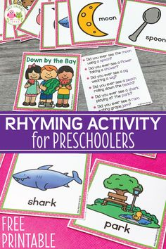 Use these free rhyming picture cards with the Down By The Bay song. Kids love matching the rhymes on the cards and using them to extend the classic song. Rhyming Kindergarten, Rhyming Activities, Preschool Songs, Free Preschool, Preschool Printables, Language Activities, Preschool Learning, Free Printables, Family Activities