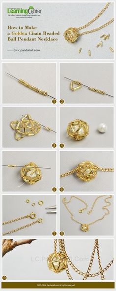 How to Make a Golden Chain Beaded Ball Pendant Necklace from LC.Pandahall.com