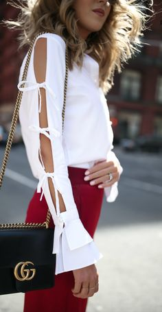 Ribbon sleeve top