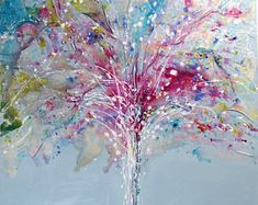 NEW: Original Tree Art by Caroline Ashwood - Textured and contemporary abstract painting on canvas - FREE SHIPPING