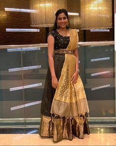 Half Saree Designs, Sari Blouse Designs, Fancy Blouse Designs, Designer Blouse Patterns, Lehenga Designs, Stylish Blouse Design, Stylish Dress Designs, Stylish Dresses, Designer Party Wear Dresses
