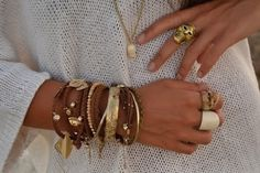 The phrase Arm party stands for stacking a bunch of different bracelets on the same arm and it's one of the biggest accessory trends this . Hippie Chic, Hippie Elegante, Boho Chic, Boho Style, Hippy Style, Love Bracelets, Cartier Love Bracelet, Layered Bracelets, Leather Bracelets
