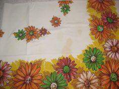 Vintage 60s Mod Daisy Cotton Tablecloth by xenavintage on Etsy, $14.99