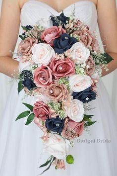 Blue And Blush Wedding, Navy Wedding Flowers, Pink Wedding Theme, Dusty Rose Wedding, Blush Pink Weddings, Navy Wedding Colors, Wedding Flower Bouquets, August Wedding Colors, Vintage Wedding Colors
