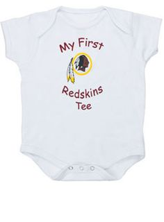 """It's never too early to teach your baby to support your favorite team in this Infant Redskins """"My First"""" Creeper."""
