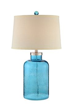 Illuminada 19158 001 Transitional 3 Way Water Glass Table Lamp With Linen Hardback Shade