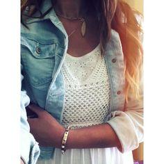 denim jacket over white dress