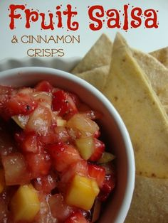 Fresh Fruit Salsa with Baked Cinnamon Crisps!  Perfect summer snack or dessert!