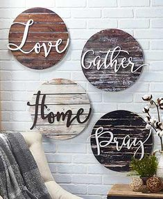 Hang this Embellished Sentiment Wall Plaque on a wall of your home to accent your family photo gallery or greet your guests. A die-cut word embellishes the dist crafts Embellished Sentiment Wall Plaques Diy Wand, Diy Wall Decor, Diy Home Decor, Rustic Wall Decor, Wall Decorations, Rustic Decorations For Home, Country Wall Decor, Letter Wall Decor, Wooden Decor