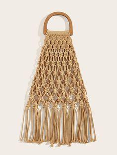 Tassel Decor Woven Tote Bag