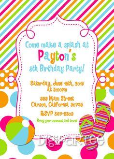 Adult Pool Party Invitation  Birthday Printable  Summer