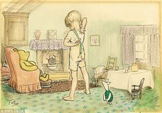 e.h. shepard drawings | One of Shepard's very first Winnie-the-Pooh colour drawings produced ...