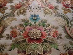 Vintage Retro French Medallion Urn Floral Jacquard Brocade Fabric ~ jewel tones