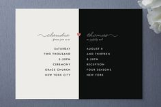 Claire Anne Black Ivory White Wedding Invitations for formal black