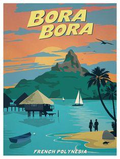 Beautiful Retro Poster Design Ideas www.designlisticl… Schöne Retro Plakat-Design-Ideen www. Vintage Beach Posters, Poster Vintage, Vintage Surf, Bora Bora, Art Deco Posters, Poster Prints, Retro Posters, Gig Poster, Surf Posters