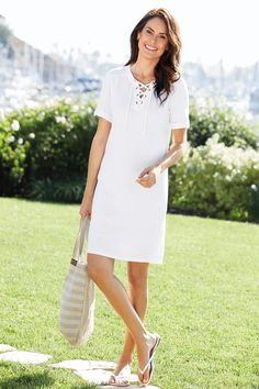 Jersey Lace-Up Dress. Relax in comfortable style in this carefree pullover dress made of cotton/polyester. Great for shopping with friends, relaxing at the beach, or for any summer vacation!