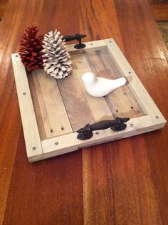 Reclaimed Grey Driftwood Pallet Wood Serving Tray with Metal Handles on Etsy, $49.00 #NatureColorLovers #Etsy