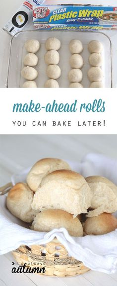 Did you know you can make roll dough ahead and refrigerate or freeze it, then bake later? perfect for busy days and holiday dinners! Dinner rolls always add great rewards to any dinner, feast or just regular meal. Freezer Cooking, Freezer Meals, Cooking Recipes, Freezer Dinner, Freezer Desserts, Yummy Eats, Yummy Food, Yummy Yummy, How To Make Rolls