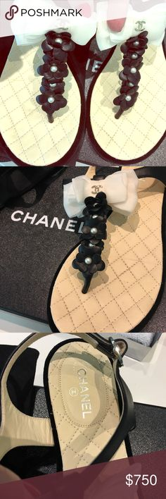 a46aa8beebe2 Original Chanel sandals leather size 37 like new Gorgeous Chanel black  leather sandals with beautiful off