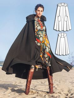 This cape is perfect for the first chilly days as the season changes. Slightly flared with an oversize hood, it includes patch pockets and a concealed button placket. Fashionistas whose wardrobe includes lots of dresses and breezy blouses will especially love this piece as it minimizes wrinkles, unlike a restrictive jacket or coat might do, because it swings wide at the lower hem. #burdastyle #sewing #pattern #sew #diy