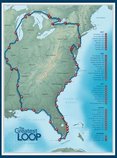 The Great Loop Route life travel adventure life travel bucket lists life travel hippie life travel ideas life travel trips Places To Travel, Travel Destinations, Places To Go, Time Travel, Road Trip Map, Road Trips, East Coast Road Trip, Vacation Trips, Italy Vacation