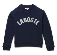 Girl's Crew Neck Sweatshirt With Sequin Lacoste Detailing