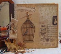 Album romántico con tapas de madera Burlap, Reusable Tote Bags, Scrapbook, Diy, Albums, Amor, Music Notes, Cartonnage, Mini Albums
