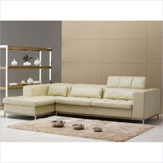 """Tosh Furniture Modern Half Leather Left Side Facing Sectional Sofa in Beige - TOS-FY635-LT-AM8002-LSF; $2400, free s/h.  Chaise Dimensions: 28"""" H x 67"""" W x 36"""" D, 3-Seater Dimensions: 28"""" H x 81"""" W x 41"""" D"""