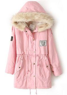 Pink Faux Fur Hooded Zipper Embellished Fleece Inside Military Coat -SheIn(Sheinside) Mobile Site