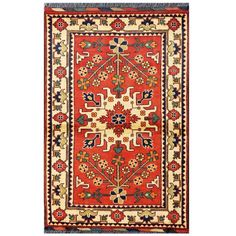 Herat Oriental Afghan Hand-knotted Tribal Kargahi Wool Rug (2'8 x 4'1) (Afghan Hand-knotted Tribal Karghai Area Rug), Ivory (Natural Fiber, Geometric)