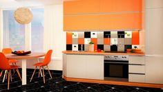 Ярко-оранжевая столовая словно спелый апельсин порадует своим дизайном.