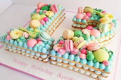 Pretty and different take on a Birthday 'cake'. Number Birthday Cakes, Number Cakes, 80th Birthday, Luau Cookies, Cake Cookies, Pretty Cakes, Cute Cakes, Fondant Cakes, Cupcake Cakes