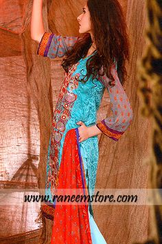 Zainab embroidered lawn dresses for women by Zubiada Textile online shopping Dubai UAE $147.00 Printed lawn shirt with embroidered front, neck and hemline. Printed chiffon long lenght sleeves. V shape neckline. Hemming finish.Plain straight trousers with Embroidered hems. Elasticated