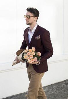 Shop this look on Lookastic: https://lookastic.com/men/looks/burgundy-blazer-white-long-sleeve-shirt-khaki-chinos/20942 — White Long…