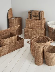Water Hyacinth Corner Laundry - My siteBuy the Water Hyacinth Toilet Roll Holder from Marks and Spencer's range.wicker range M&S Bamboo Crafts, Rope Crafts, Diy Home Crafts, Baskets On Wall, Storage Baskets, Wicker Baskets, Laundry Storage, Toilet Roll Holder Basket, Sisal