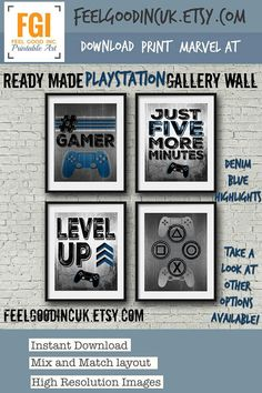 READY MADE - Playstation Controller - GALLERY WALL - DENIM BLUE HIGHLIGHTS - PLAYSTATION POSTERS - - - - - - - - - - - - - - - - - - - - - - - - - - - - - - - - - - - - - - - - - - - - - - - - - - - - Now available with green highlights, the original group of prints was a special