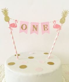 Let's Flamingle First Birthday Cake Topper~ Pink and Gold First Birthday ~ Flamingo Cake Topper~ Flamingo Party Decorations
