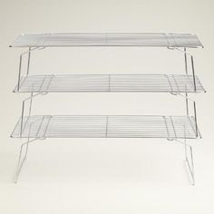 """3-Tier Stackable Cooling Rack. Wonder how much weight they hold? Could they help organize our plates? 10"""" x 16""""."""