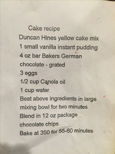 Jackie Mourer cake recipe