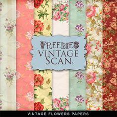 Freebies Vintage Flowers Papers