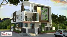 Modern design home elevation contemporary house elevation modern designs for house modern front elevation home design Front Elevation Designs, House Elevation, House Front Design, Cool House Designs, Modern House Design, Independent House, Indian Home Design, Style At Home, Kerala