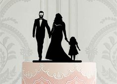Curvy bride and groom with beard with little boy silhouette , Custom cake topper design, Plus size bride cake topper Bride Silhouette, Silhouette Wedding Cake, Silhouette Cake, Wedding Cake Decorations, Wedding Cake Toppers, Wedding Cakes, Lesbian Wedding, Wedding Bride, Our Wedding