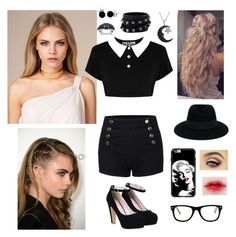 """""""Kara- OOTD- Plot in Description"""" by kitrosekate ❤ liked on Polyvore featuring Killstar, Valentino, Jewel Exclusive, Bling Jewelry, Maison Michel and Muse"""